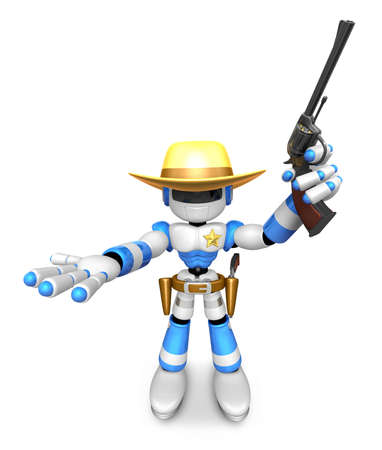 gunslinger: 3D Blue Robot sheriff the left hand guides and the right hand is holding a revolver. Create 3D Humanoid Robot Series.