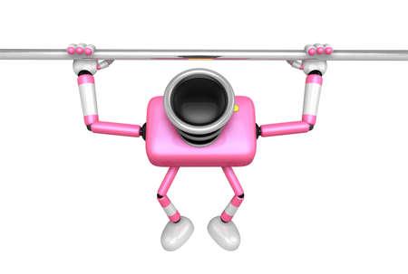 vigorous: 3D Pink Camera character is doing a vigorous horizontal bar workout. Create 3D Camera Robot Series.