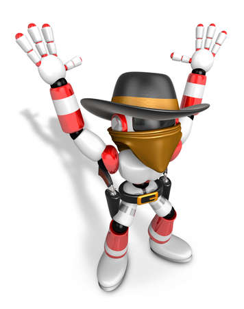 miscreant: 3D Red villain robot with both hands in a gesture of surrender. Create 3D Humanoid Robot Series.