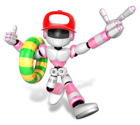 humanoid: 3d Pink robot Rescue operations are on summer vacation. Create 3D Humanoid Robot Series.
