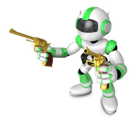 informal: The 3D Green Robot cowboy holding a revolver gun with both hands. Create 3D Humanoid Robot Series.