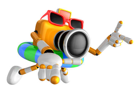 3D Yellow Camera characte the direction of pointing with both hands. Create 3D Camera Robot Series. Stock Photo