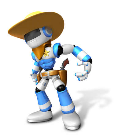 combatant: 3D blue Robot Sheriff is taking pose a gunfight. Create 3D Humanoid Robot Series.