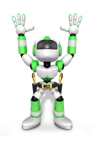 wrangler: 3D Green cowboy robot with both hands in a gesture of surrender. Create 3D Humanoid Robot Series. Stock Photo