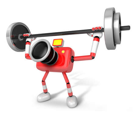 'pull over': 3D Red Camera character a Barbell Shoulders Press Exercise. Create 3D Camera Robot Series. Stock Photo