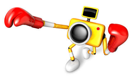pugilism: 3D Yellow Camera character is doing a vigorously punching boxer. Create 3D Camera Robot Series.