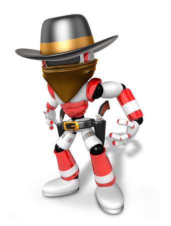 miscreant: 3D Red Robot villain is taking pose a gunfight. Create 3D Humanoid Robot Series.