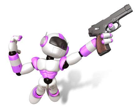 humanoid: 3D Purple robot jumping holding an automatic pistol. Create 3D Humanoid Robot Series.
