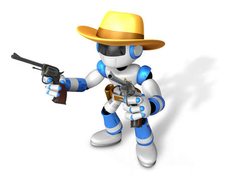 combatant: The 3D Blue Robot sheriff holding a revolver gun with both hands. Create 3D Humanoid Robot Series.