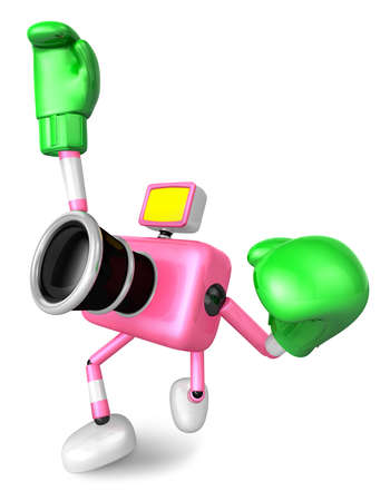 pugilism: 3D Pink Camera character is doing a vigorously boxer Exercise. Create 3D Camera Robot Series.