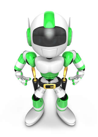 combatant: 3D Green Robot cowboy is taking pose a gunfight. Create 3D Humanoid Robot Series.