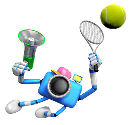 3D Blue Camera character is a powerful tennis game play exercises. Create 3D Camera Robot Series.
