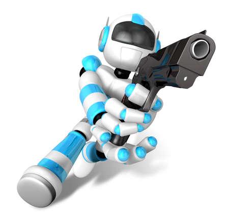 humanoid: 3D Cyan Robot fire an aimed shot a automatic pistol. Create 3D Humanoid Robot Series.