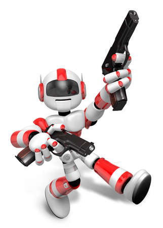 humanoid: 3D Red Robot Mascot is taking pose a gunfight. Create 3D Humanoid Robot Series. Stock Photo