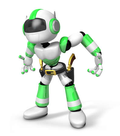 puncher: 3D Green Robot cowboy is taking pose a gunfight. Create 3D Humanoid Robot Series.