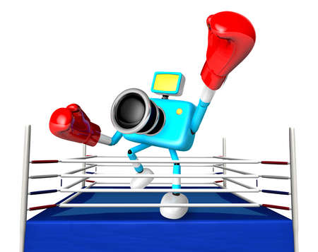 pugilism: A big punch in the ring blowing 3d cyan camera Character. Create 3D Camera Robot Series.