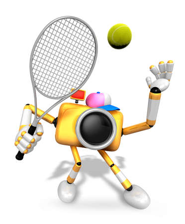 3D Yellow Camera character is a powerful tennis game play exercises. Create 3D Camera Robot Series. Stock Photo