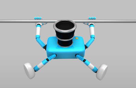 vigorous: 3D Cyan Camera character is doing a vigorous pullup. Create 3D Camera Robot Series. Stock Photo