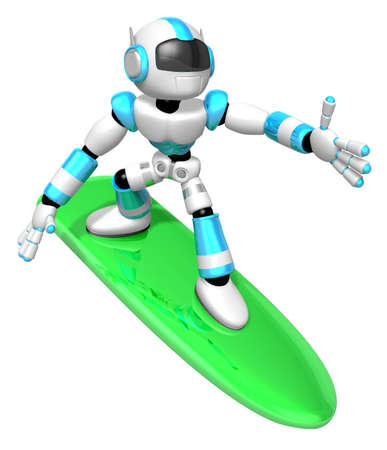 humanoid: 3D Cyan robot is riding a surf board to the Right. Create 3D Humanoid Robot Series.