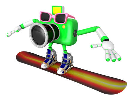 fidelity: 3D Green Camera characte the direction of pointing with both hands. Create 3D Camera Robot Series.