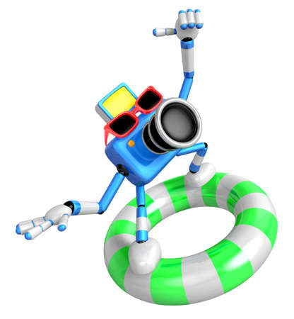 caballa: 3d Blue Camera character surfing on lifebuoy. Create 3D Camera Robot Series. Stock Photo
