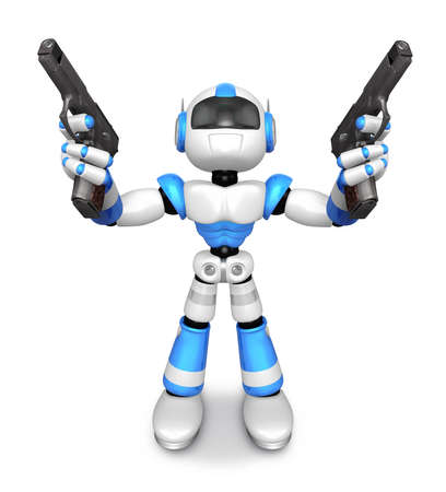 humanoid: 3D Blue Robot Mascot holding a Automatic pistol with both hands. Create 3D Humanoid Robot Series.