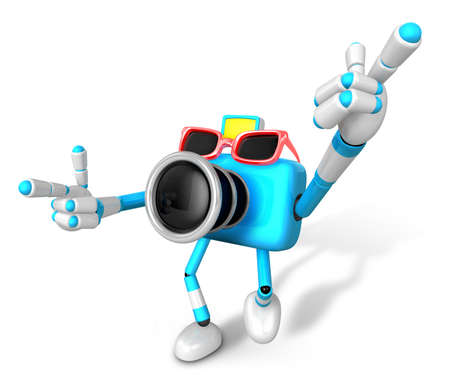 3D Green Camera characte the direction of pointing with both hands. Create 3D Camera Robot Series.