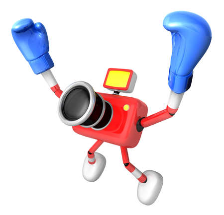 fidelity: 3d Red Camera Character Boxer Victory the serenade. Create 3D Camera Robot Series.
