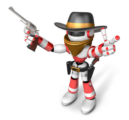 miscreant: 3D Red Robot villain the right hand guides and the left hand is holding a revolver. Create 3D Humanoid Robot Series. Stock Photo