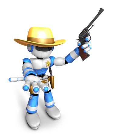 combatant: 3D Blue Robot sheriff the left hand guides and the right hand is holding a revolver. Create 3D Humanoid Robot Series.