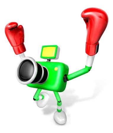 pugilism: 3d Green Camera Character Boxer Victory the serenade. Create 3D Camera Robot Series.