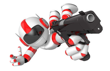 humanoid: Red 3D robot jumping holding an automatic pistol. Create 3D Humanoid Robot Series. Stock Photo