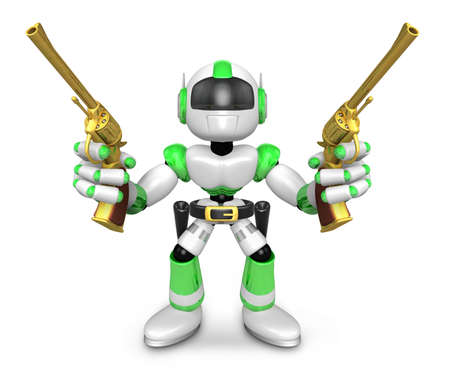 combatant: The 3D Green Robot cowboy holding a revolver gun with both hands. Create 3D Humanoid Robot Series.