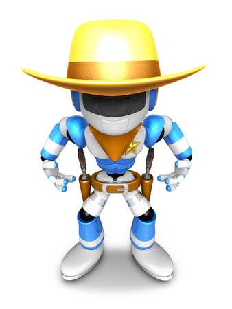 gunslinger: 3D blue Robot Sheriff is taking pose a gunfight. Create 3D Humanoid Robot Series.