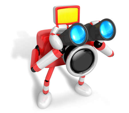 fidelity: 3D Red camera Character telescopes looking towards the right. Create 3D Camera Robot Series. Stock Photo