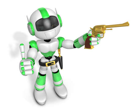 good natured: 3D Green Robot cowboy the left hand best gesture and right hand is holding a revolver gun. Create 3D Humanoid Robot Series.