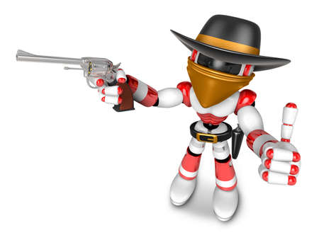 miscreant: 3D Red Robot villain the right hand best gesture and left hand is holding a revolver gun. Create 3D Humanoid Robot Series. Stock Photo
