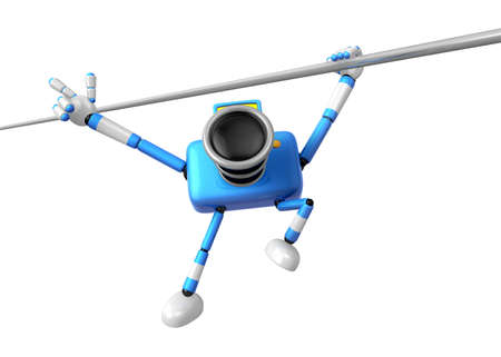 powerfull: 3D Blue Camera character a Powerful Chin up Exercise. Create 3D Camera Robot Series.