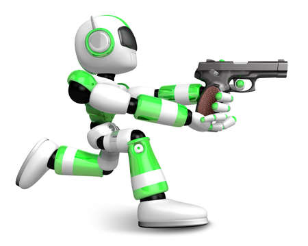 humanoid: 3D Green Robot fire an aimed shot a automatic pistol. Create 3D Humanoid Robot Series.