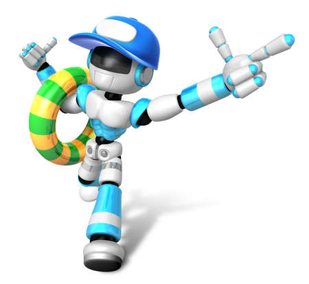 humanoid: 3d Cyan robot Rescue operations are on summer vacation. Create 3D Humanoid Robot Series. Stock Photo