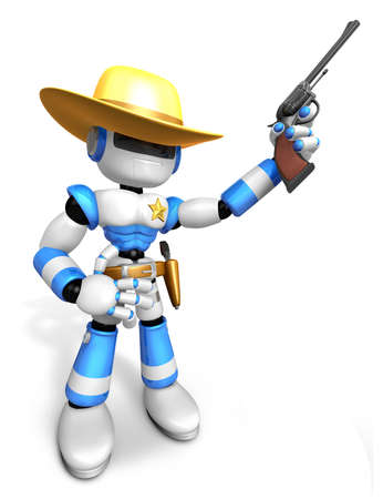 gunslinger: 3D Blue Sheriff robot is holding a revolver gun pose. Create 3D Humanoid Robot Series.
