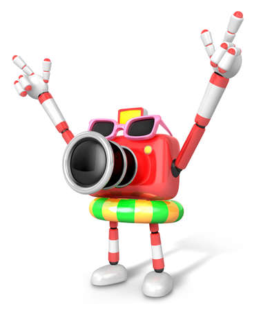 fidelity: 3D Red Camera Character on their Vacation journey. Create 3D Camera Robot Series. Stock Photo