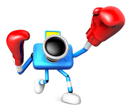 pugilism: 3D Blue Camera character is doing a vigorously boxer Exercise. Create 3D Camera Robot Series.