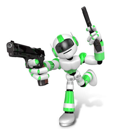 humanoid: 3D Green Robot Mascot holding a Automatic pistol with both hands. Create 3D Humanoid Robot Series.