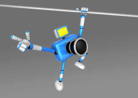 CHIN: 3D Blue Camera character a Powerful Chin up Exercise. Create 3D Camera Robot Series.