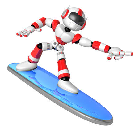 humanoid: 3D Red robot is riding a surf board to the Right. Create 3D Humanoid Robot Series.