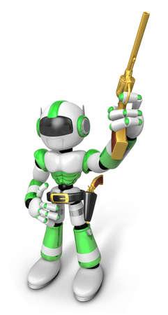 wrangler: 3D Green cowboy robot is holding a revolver gun pose. Create 3D Humanoid Robot Series.