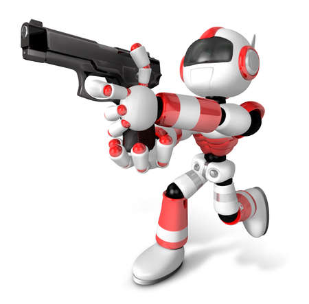 humanoid: 3D Red Robot fire an aimed shot a automatic pistol. Create 3D Humanoid Robot Series.