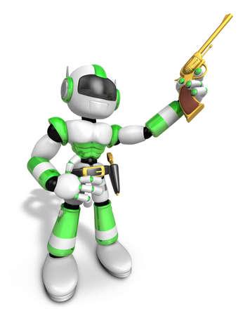 gunslinger: 3D Green cowboy robot is holding a revolver gun pose. Create 3D Humanoid Robot Series.