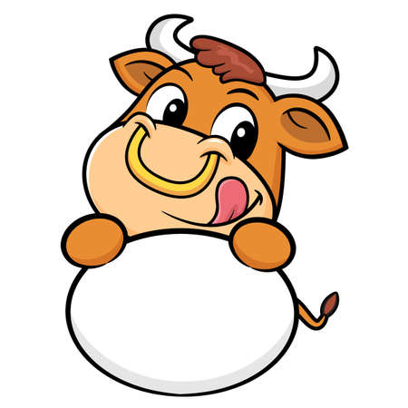 bullock: Bull Character is holding a round board. Illustration